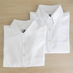 New white button-ups in our summer collection. The Pearl, with a textured and embroidered all over dot. The Birch, a button-down collar made in a lightweight organic poplin fabric.