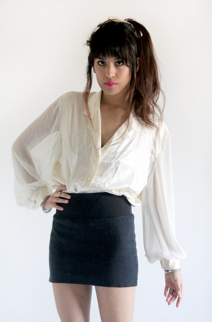 Tarte Vintage Silk Blouse with Sheer Sleeves (available on shoptarte.com)