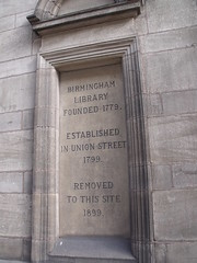 Photo of Birmingham Library stone plaque