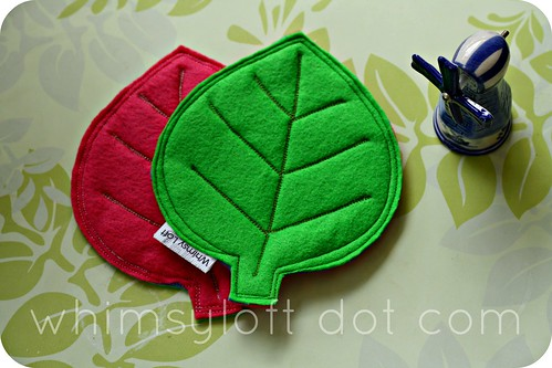 Leaf felt COASTERS Pink Green