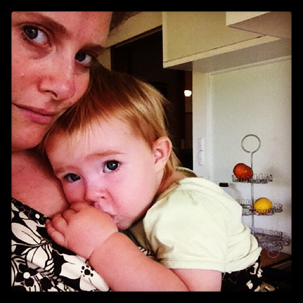 Home day... Feeling a teeny bit unwell and #snuggly... #cooking pikelets #babywearing #home