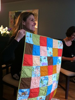 A new baby quilt with Mama-to-be Karran!