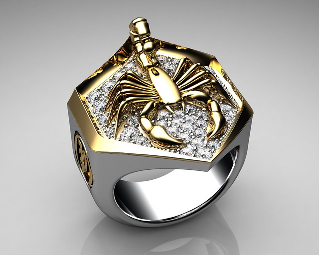 unique mens ring scorpion shield paved surface ring