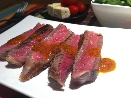 Porterhouse Steak with Roasted Capsicum Sauce by mjd-s