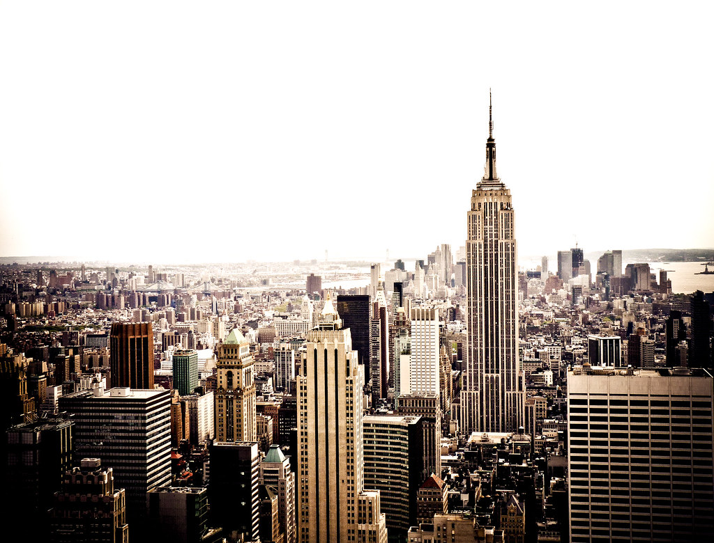 the new york city skyline and the empire state building. Black Bedroom Furniture Sets. Home Design Ideas