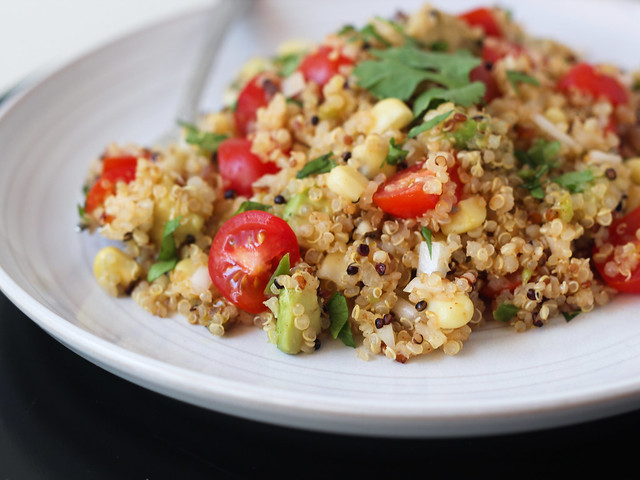 Toasted quinoa salad with jalapeno-lime dressing