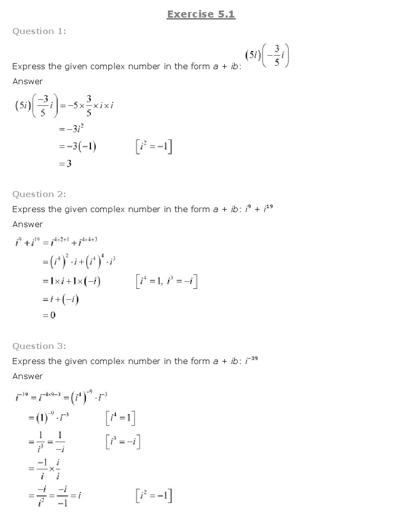 NCERT Solutions For Class 11th Maths Chapter 5 Complex Numbers and ...
