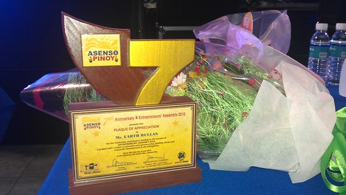 Asenso Pinoy 7th Anniversary plaque and boquet