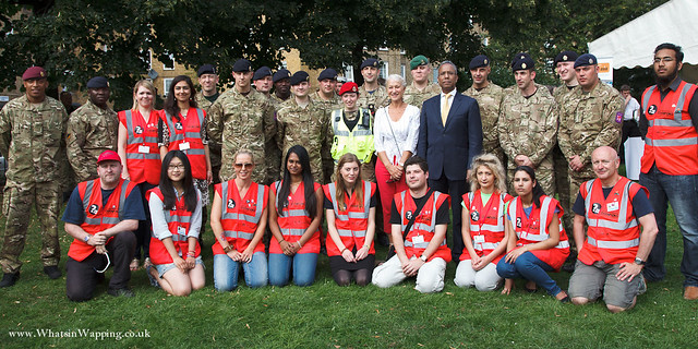 Tobacco Dock Olympic troops, Helen Mirren, Lutfur Rahman and public service workers in Wapping Gardens