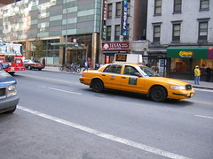 Taxi in the middle of the street