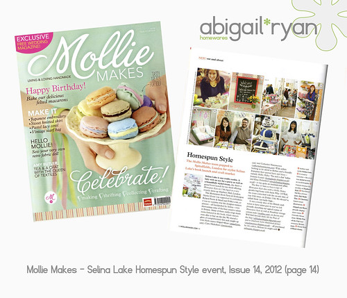 abigail*ryan press in Mollie Makes magazine, issue 14 at the Selina Lake Homespun Style book event!