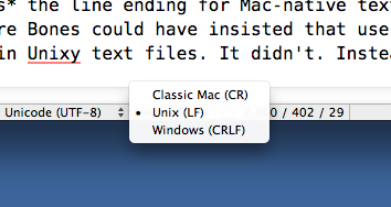 BBEdit line endings popup