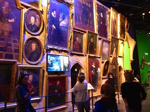 Some of the paintings that were hung next to the moving stairs in Hogwarts