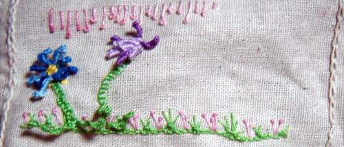 Drizzle stitch flowers,