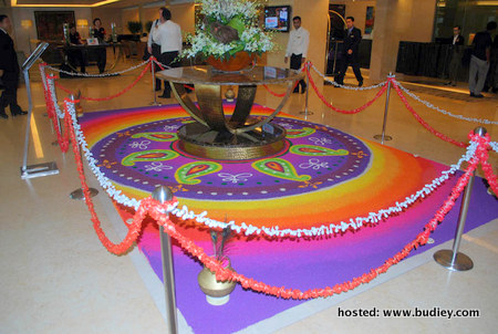 Side view of the colourful KOLAM