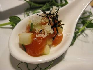 Salmon tartare, cucumber, puffed rice, yuzu