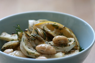 Lemony giant beans with fennel & dill