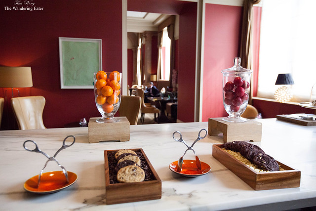 Cookies at the bar and looking at part of the seating area of the Chambers Club