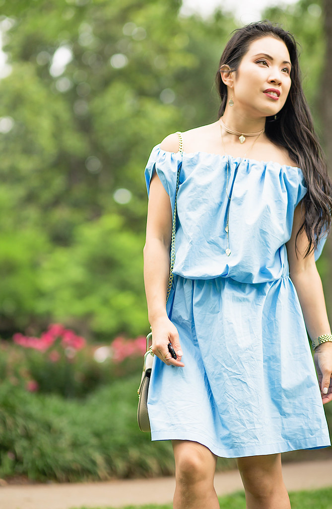 cute & little blog | petite fashion | chambray off-shoulder dress, espadrille wedges, chloe drew look for less, choker necklace | spring summer outfit