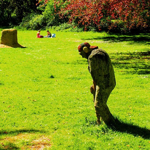 Picnic for two—in nature's quietness—with the Jackhammer Man sculpture. | by 2composers