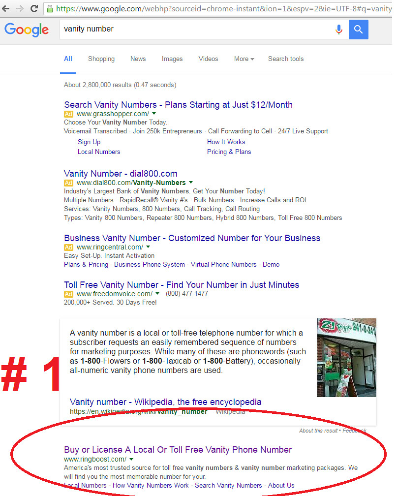 vanity number #1 ranking | Ringboost com SEO: #1 ranking for… | Flickr