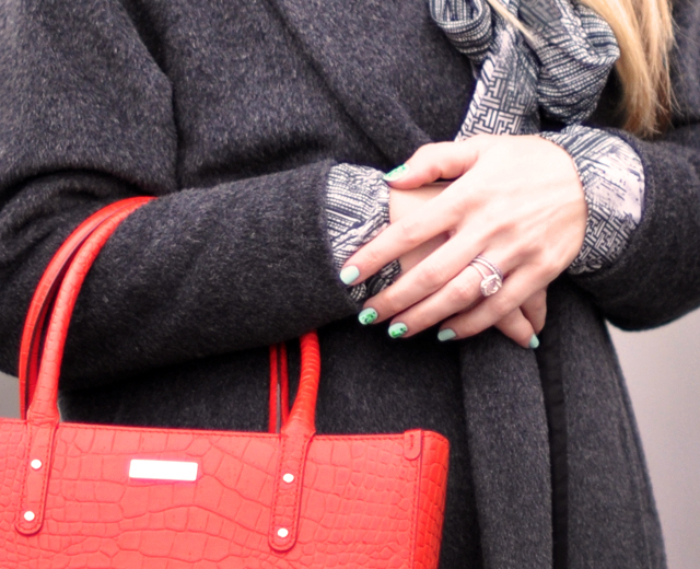 mint nails - red tote bag -vintage gray coat