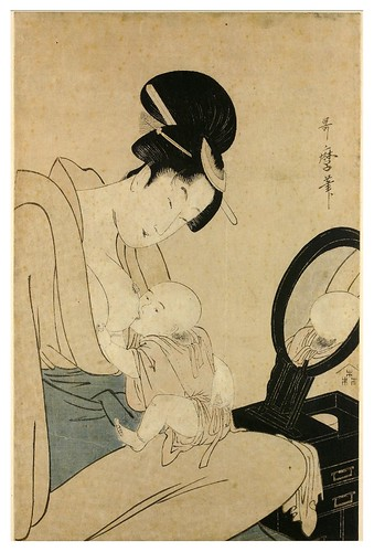 022-Una madre amamanta a su hijo delante de un espejo-Kitagawa Utamaro- © The Trustees of the British Museum