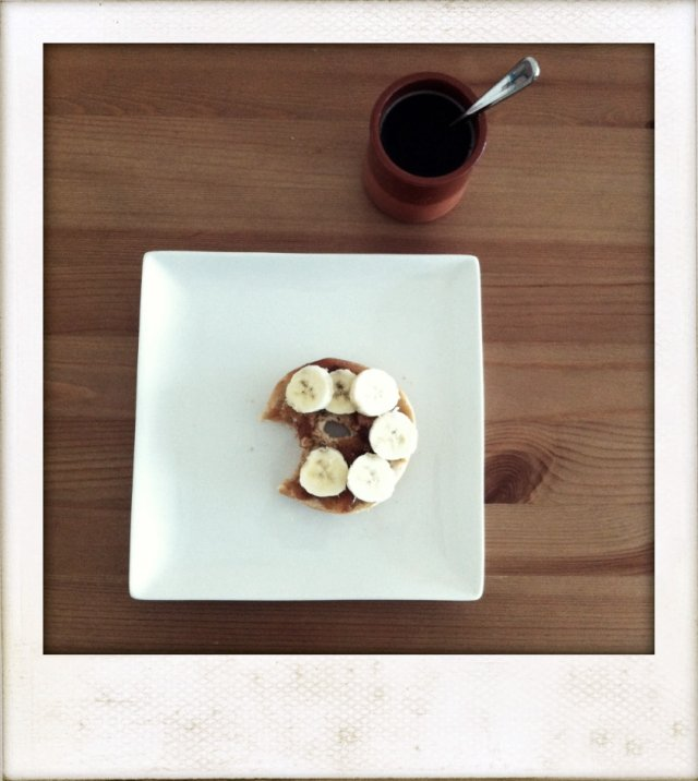 banana nut bagel with coffee 1
