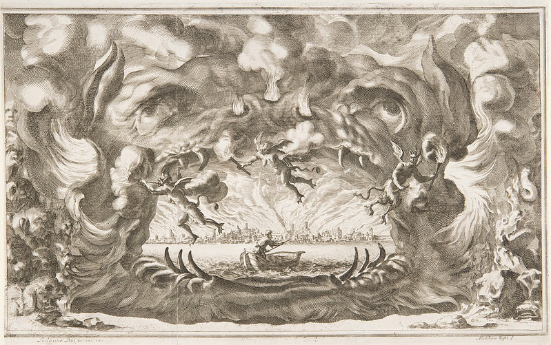 "Ludovico Ottavio Burnacini / Mathäus Küsel - Stage Design for the opera ""Il pomo d'oro ' (Storm Scene) 1667"