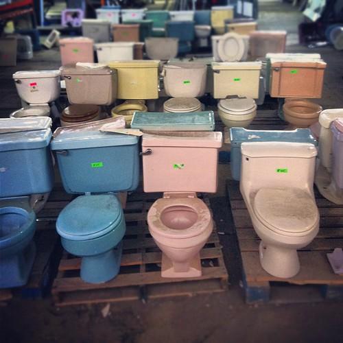 Orderly ranks of pastel porcelain