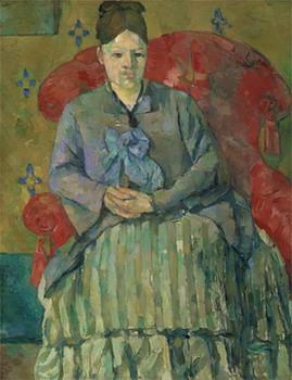 赤いひじ掛け椅子のセザンヌ夫人