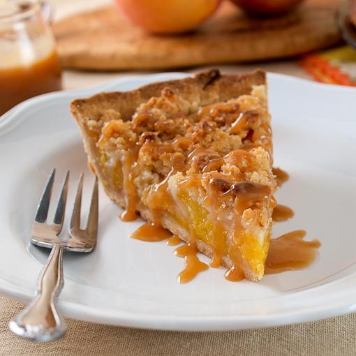 Salted Caramel Peach Crumble Pie - Evil Shenanigans