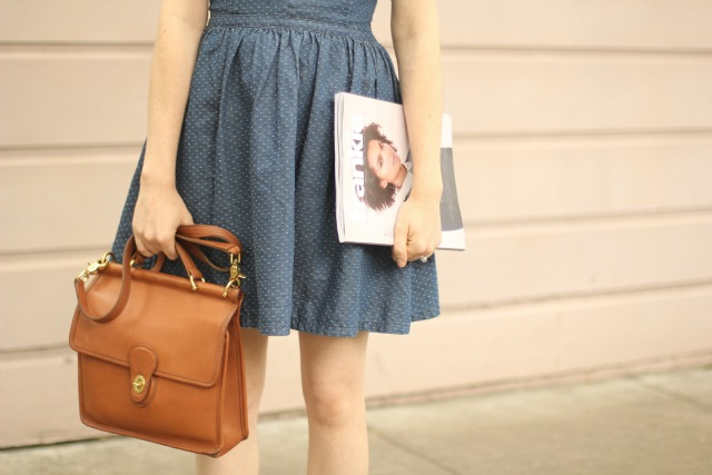 coach bag and magazine