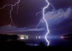 Lightning beyond, and reflected in, Lake Quannapowitt, Wakefield, MA