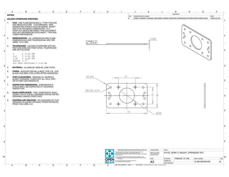 TL400-000105-002-B - PLATE, NEMA 17 MOUNT, OpenBeam 1515