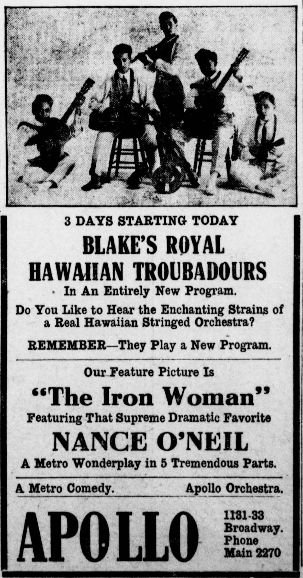 Hawaiian Musicians on the U S  Mainland in the Early 1900s - Hawai'i