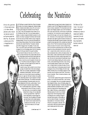 Celebrating the Neutrino