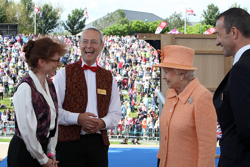 Neil Schneider, Chief Executive of Stockton-on-Tees Borough Council introduces Her Majesty The Queen to members of the multi-award winning Cobweb Orchestra