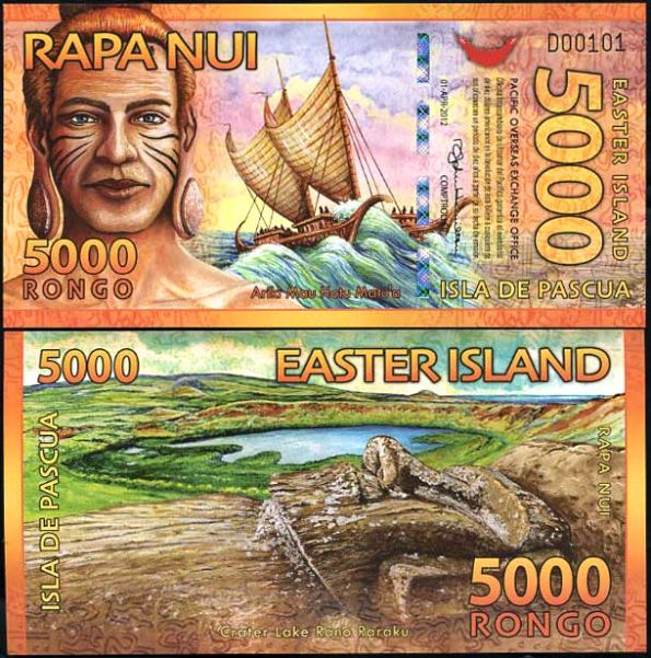 5000 Rongo Veľkonočný ostrov 2012 polymer