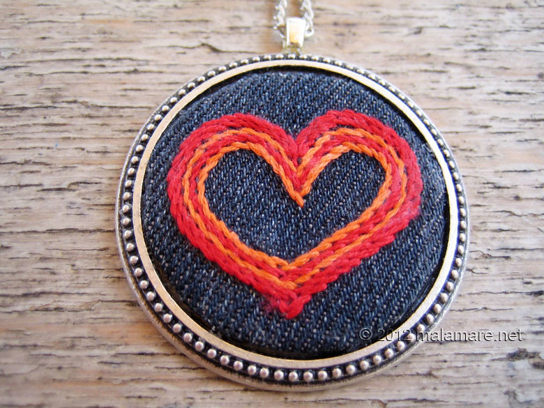 hand embroidered jeans necklaces heart