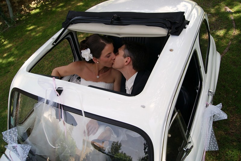 mariage en fiat 500 blanche a stylefont size08 - Location Fiat 500 Mariage
