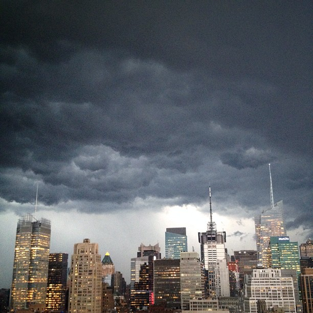 Bad ass clouds rolling into #NYC