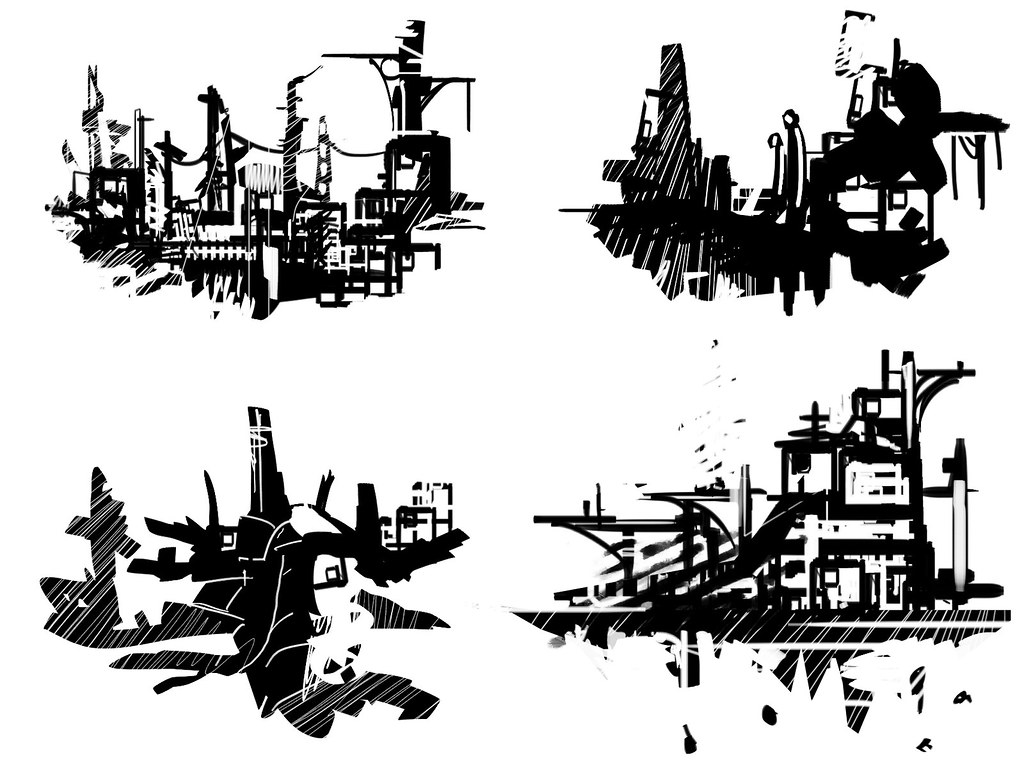 abstract environment sketches