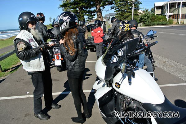 Chatting with the bikers