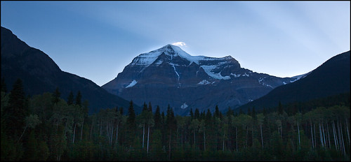 Mt. Robson in the early morning - Mary rose to catch this early shot. (Photo credit: Mary Sanseverino)