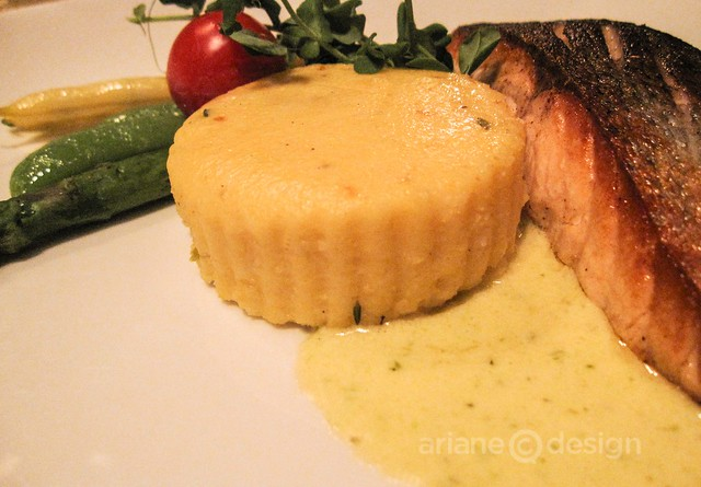 Windjammer Restaurant/St. George farmed Atlantic salmon, rooftop dill & goat cheese polenta