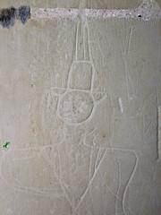 17th Century graffiti: man in puritan hat