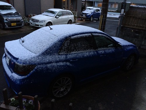 WRX STI covered with snow