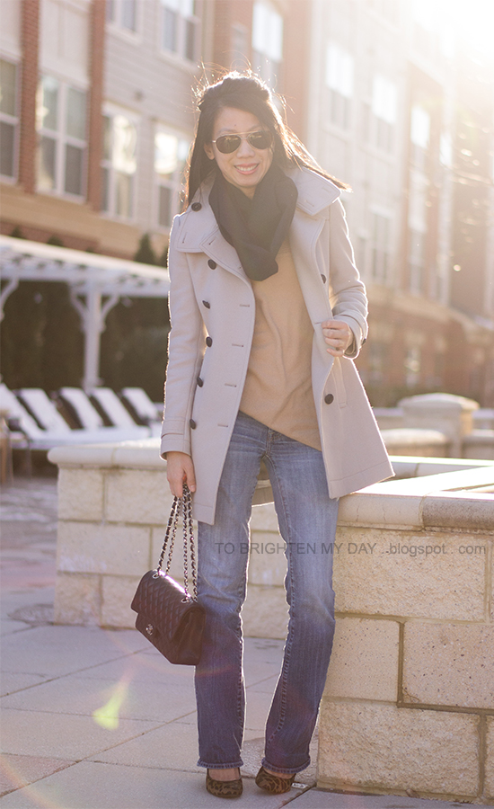 wool trench coat, camel sweater, black scarf, leopard pumps