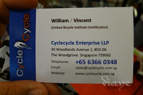 Cyclecycle Singapore business card